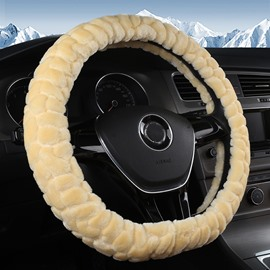 Short Plush Velvety Soft Textured Car Steering Wheel Cover Sets