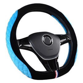 Suede Stereo Clipping Suede Material Sports Style Steering Wheel Cover