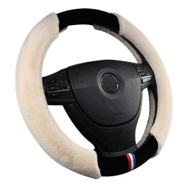 Holding Warm With Fur Wrap On Both Sides Steering Wheel Cover