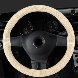 Pure Color Textured Genuine PU Leather Hand-stitched Steering Wheel Cover