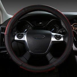 Business Style Color Block Leather Material Steering Wheel Cover