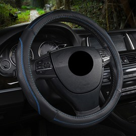 Leather Material Color Block All Seasons Business Style Steering Wheel Cover