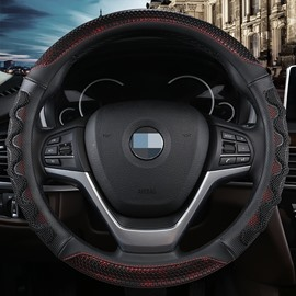Simple Style Plain Pattern Leather Material Steering Wheel Cover