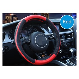 Business Style Color Block Leather Steering Wheel Cover