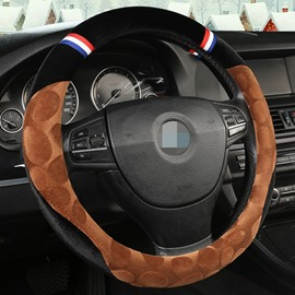 Creative Style Color Block Suede Steering Wheel Cover