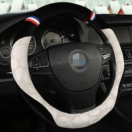 Creative Style Color Block Suede Steering Wheel Cover