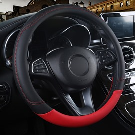 Fashionable Style Two Colors Mixed Soft PU Leather Massage Breathable Anti-Slip & Odor-Free Steering Wheel Cover