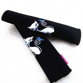 Charming Black Fox Blue Eyes Car Seat Belt Cover