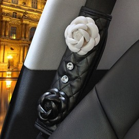 Classic Black White Rose Color Flower Mixing Seat Belt Cover