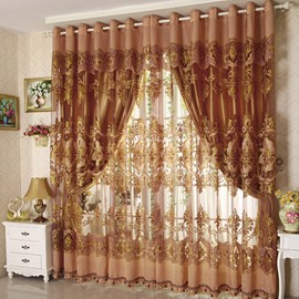Luxury and Classical Solid Golden Custom Curtain for Living Room and Bedroom