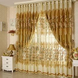 Luxury Golden Peony Pattern Jacquard Custom Sheer Curtains
