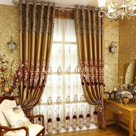 Blackout and Decoration Ventilate Embroidery Noble Luxury Golden Custom Sheer Curtain