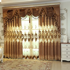 Golden Jacquard Luxury Hollowed Design Curtain Panels for Living Room