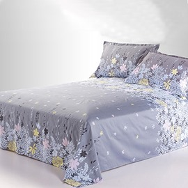 Pastoral Light Grey Active Printed Cotton Sheet with Colorful Florals