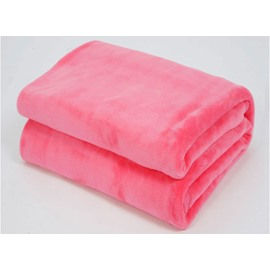 Solid Color Watermelon Red Thick Flannel Blanket