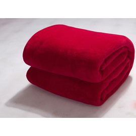 Solid Color Bright Red Flannel Soft Comfortable Skincare Blanket