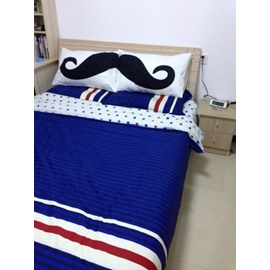 New Arrival 100% Cotton Mustache Print  One Pair of Pillowcases
