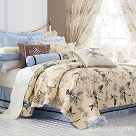 Pastoral Birds and Branches Prints Patchwork Cotton 3-Piece Bed in a Bag