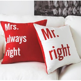 New Arrival Lovely Mr and Mrs Letters Print One Pair of Red Throw Pillowcases
