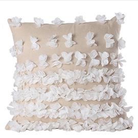 Concise Butterflies Applique Linen Throw Pillowcase