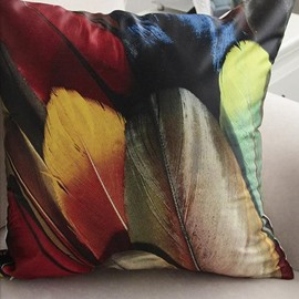 New Arrival Modern Style Beautiful Colorful Feathers Print Throw Pillow