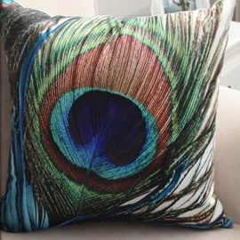 New Arrival Beautiful Blue and Green Peacock Feathers Print Throw Pillow