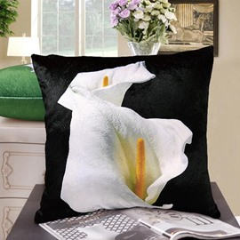New Arrival Elegant Double Heads of Calla Flowers Print Throw Pillowcase