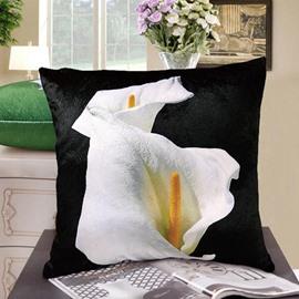 New Arrival Elegant Double Heads of Calla Flowers Print Throw Pillowcase