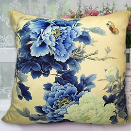 New Arrival Beautiful Classical Blue Peony Flowers Print Throw Pillowcase