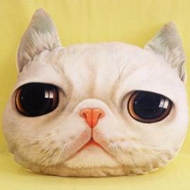 Vivid Gloomy White Cat Print Throw Pillow