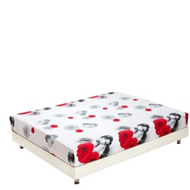 New Arrival Romantic Red Roses and Loving Couple Print 3D Fitted Sheet