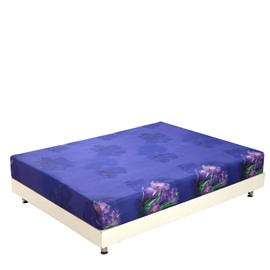 Amazing Purple Flowers and Green Leaves Print 3D Fitted Sheet