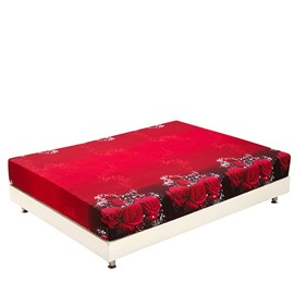 Fancy Fragrant Red Roses Print 3D Fitted Sheet
