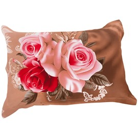 Fancy Blooming Red and Pink Roses Print Pillow Case
