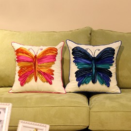 Classic Butterfly Cotton Decorative Throw Pillow