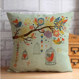 Vivid Bird and Colorful Trees Print Throw Pillow