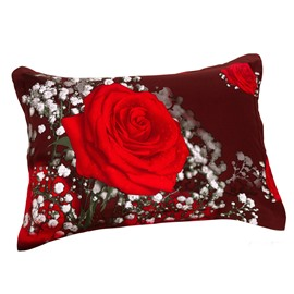 Romantic Shiny Red Roses Print Two Pieces 3D Pillowcases