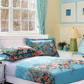 Quality Splendid Colorful Flowers Print Blue Fitted Sheet