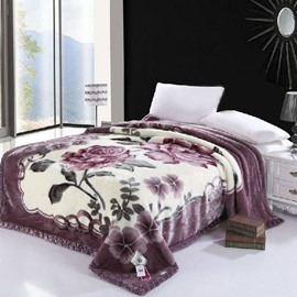 Fancy Amazing Flower Print Raschel Blanket