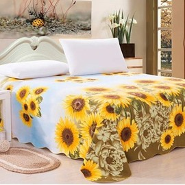 Vivid Superb Sunflower Print Full Cotton Sheet