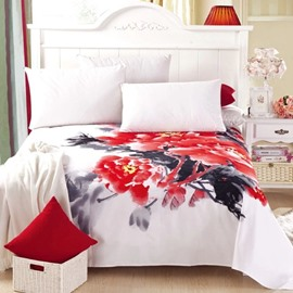 Fantastic Ink Style Adorable Flowers Full Cotton Sheet