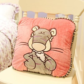 Lovely Short Plush Tiger Pattern Pillow and Blanket