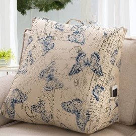 Classic Impressive Blue Butterfly and Letters Pattern Throw Pillow