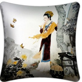 High Quality Ancient Lady Staring Chrysanthemum Pattern Throw Pillow