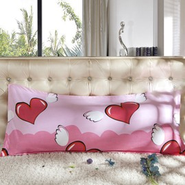 Fancy Pink Heart and Wing Pattern Bed Pillowcase for a Couple