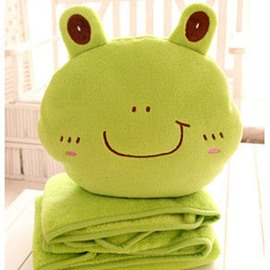 Super Cute Green Frog Shape Bed Pillow and Soft Blanket