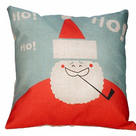 Christmas Gift Santa Claus Smoking Pattern Thicken Throw Pillow