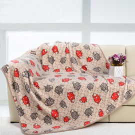 Coffee and Red Sheep Pattern Flannel Fluffy Animal Printed Blanket