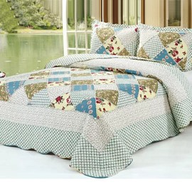 Super Comfortable Red Floral Cloth Square Pattern Bed in a Bag Set