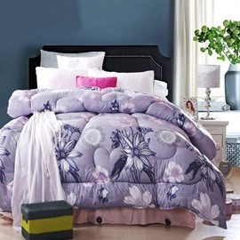 Gorgeous Light Blue Flowers and Branch Thicken Light Purple Quilt